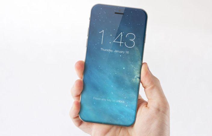Concepto artístico de cómo quedaría un iPhone en el que toda la parte frontal fuera pantalla.