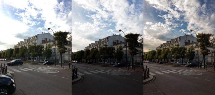 JPEG de la cámara de iOS / RAW sin editar / RAW editado para recuperar detalles del cielo y la calle