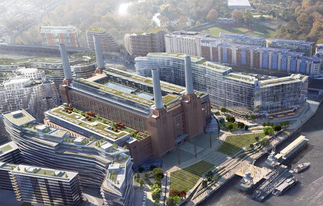 Recreación aérea de la remodelación de la central de Battersea.