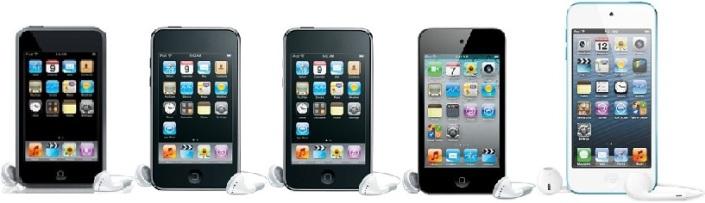 iPod Touch 1G, 2G, 3G, 4G y 5G. Falta la 6G.