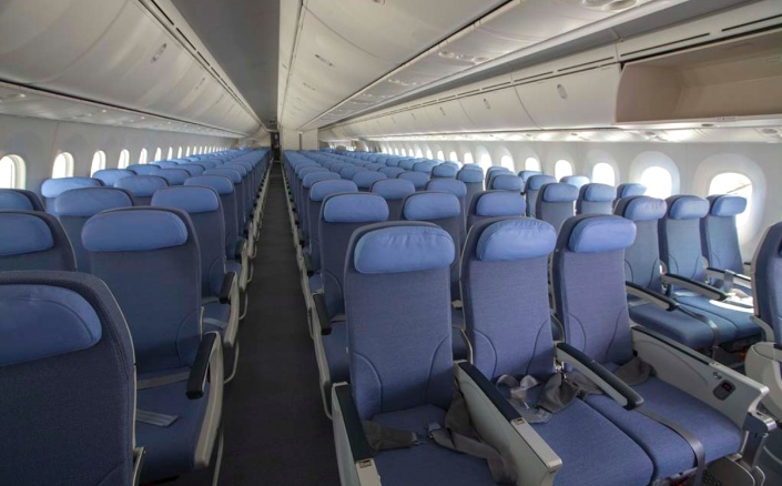 Interior de un Boeing 787 Dreamliner de Air Europa